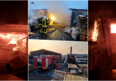 Incendiu puternic la o fabrica de mobila din Oradea, in aceasta noapte. Flacari violente pe aproape 750 mp (FOTO/VIDEO)