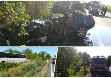 Accident mortal la iesire din Uileacu de Cris, in urma unei coliziuni dintre un autocar cu 26 de persoane si un autoturism