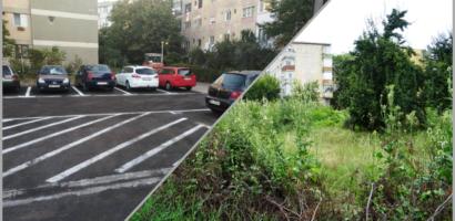 Inca o parcare de domiciliu construita de Primaria Oradea. 23 de locuri de parcare au luat locul unui teren plin de balarii