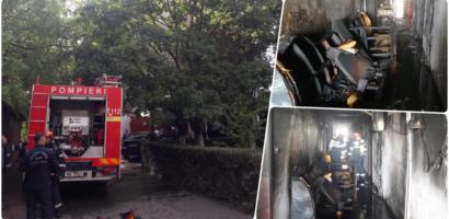 Incendiu intr-un bloc de locuinte de pe strada Aluminei din Oradea. Mai multe persoane s-au intoxicat cu fum