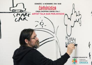 Intalnire cu artistul Talk cu Dan Perjovschi în spațiul Comuniteca amenajat de Fundația Comunitară Oradea