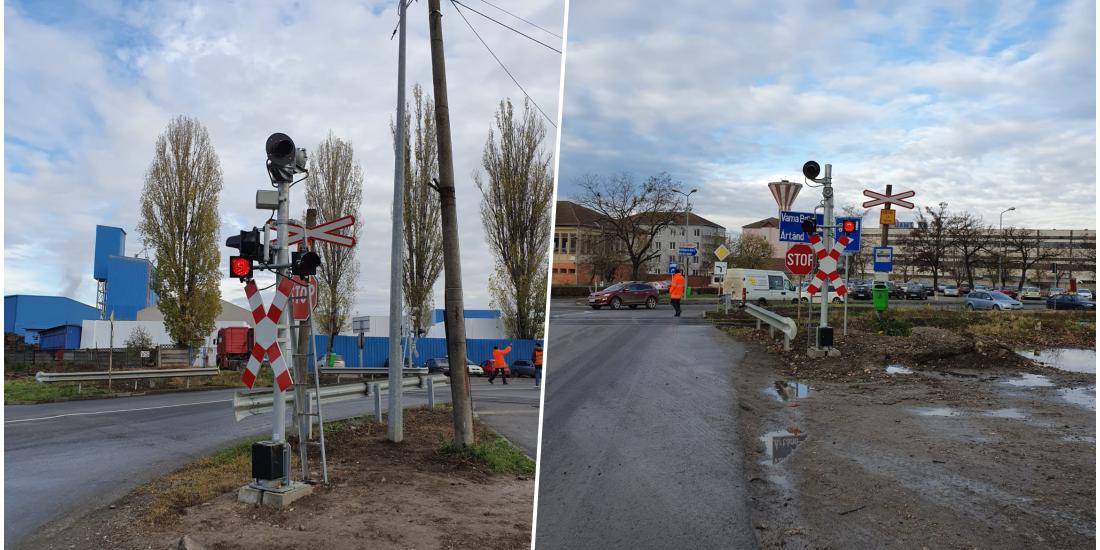 Incepand de astazi functioneaza semaforul de la trecerea de nivel de cale ferata de pe strada Uzinelor
