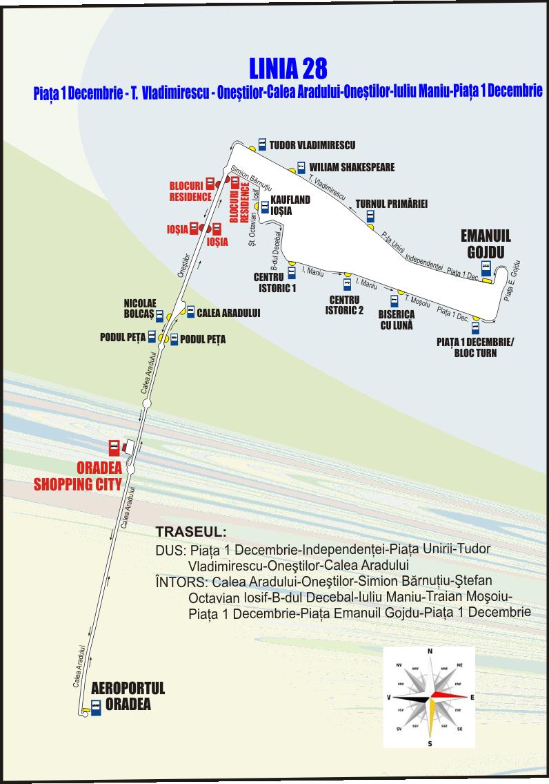 Schita traseului liniei 28 din 16 ianuarie 2020