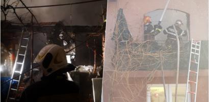Incendiu de mare amploare in Oradea, la mai multe locuinte de pe strada Ioan Mincu, in aceasta dimineata