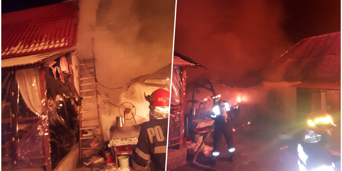 O familie din judetul Bihor a ramas fara casa, in urma un incendiu produs in aceasta noapte
