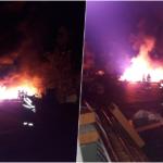 Incendiu violent in curtea supermarketului Carrefour de langa Spitalul Municipal din Oradea (VIDEO)