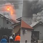 Incendiu puternic la o casa din Sanmartin, cauza probabil este un cos de fum deteriorat