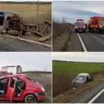 Accident grav cu 7 persoane, in care au fost implicate 3 autoturisme, in Salard. Victimele au fost transportate la spital