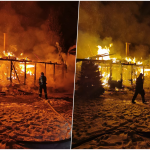 Incendiu violent la o cabana de lemn din Varciorog. Exista perocolul sa ia foc si alte cabane