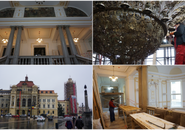 Reabilitarea cladirii primariei a ajuns la 80%. Ornamentele interioare sunt imbracate in foite de aur