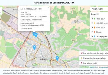 Harta interactivă a centrelor de vaccinare, pe tipuri de vaccin
