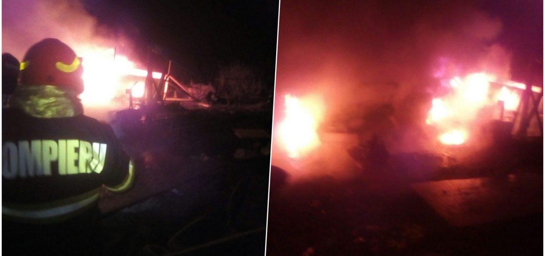 Mai multe autoturisme au luat foc, ieri seara, pe strada Gheorghe Doja din Oradea