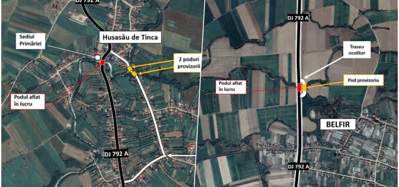 Trafic deviat pe DJ 792 A, în Husasău de Tinca și Belfir, din cauza unor lucrări la două poduri