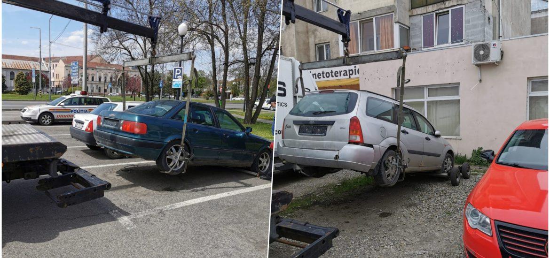Un ford si un Audi, fara numere de inmatriculare ridicate de Politia Locala de pe domeniul Public. Masinile au fost declarate abandonate