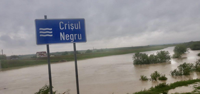 Inundatii istorice pe Crisul Negru, s-au înregistrat precipitații cumulate de 150 l/mp până la 200 l/mp
