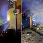 Incendiu violent la un bar din Oradea. Au ars terasa si mai multe acareturi din curtea proprietarului