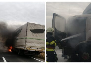 Un camion plin cu legume a luat foc astazi pe DN79, intre localitatile Salonta si Ciumeghiu