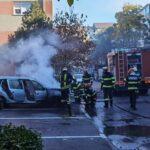 Incendiu la un autoturism, pe strada Lăpușului din Oradea